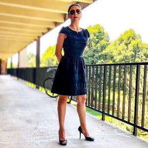 ELLE Black Cap Sleeve Fit n Flare Dress